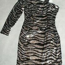 Aidan Mattox Women's Cocktail Dress  Black Silver Sequin Mini Sheath Uk 10 Photo