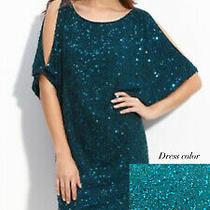 Aidan Mattox Women's Sequined Shift Dress Cold Shoulder Size 2 Turquoise Photo