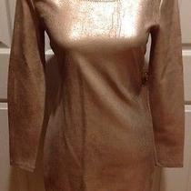 Aiko Platinum Foil Fitted Dress Size Large Photo