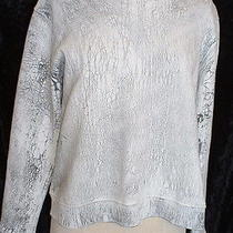 Aiko White Black Crackle Painted Sweatshirt Top Shirt Sz S Nwt Wearable Art 310 Photo