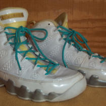Air Jordan 23 High Top Shoes Girls Size 6y White Yellow Aqua Blue Laces Nice Photo