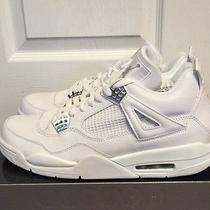 Air Jordan Retro 4  White Metallic Silver Chrome Pures Pure Money Laser Size 12 Photo