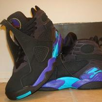 Air Jordan Retro 8's Black & Aqua Size 9.5 Photo