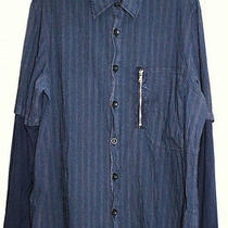 Aj Armani Jeans Blue Cotton/nylon Striped Shirt Sz L Photo