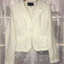 Aj Armani Jeans Ladies Pure Linen Pale Green Fitted Jacket Blazer Uk 14 Us10 Photo