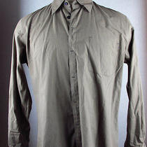 Aj Armani Jeans Mens Brown Cotton Purple Lacquered Button Down Slitted Shirt Xl Photo