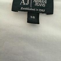 Aj Armani Jeans Uk Size 8 White Stretch Cotton Embellished  Collared Shirt  Photo