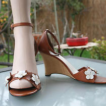 Ak Anne Klein 89 Ludlow Wedge Sandals 8.5 M Tan Mother Pearl Strap Photo