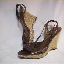 Ak Anne Klein 'Akchayna' Woven Wedge Strappy Slingback Leather Sandal Size 8.5m Photo