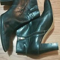 Ak Anne Klein Black Leather Ankle Booties 8.5 M Reduced Photo