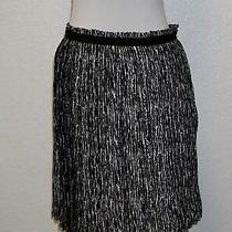 Ak Anne Klein Black & White Print  Pleated Skirt  Size 10 Photo