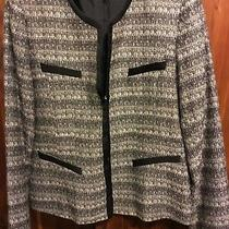 Ak Anne Klein Blazer Jacket Size 8 Black White Photo