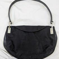 Ak Anne Klein Hobo Handbag Black Logo Canvas Leather Shoulder Bag Medium Purse Photo