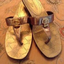 Ak Anne Klein Iflex Leather Gold Flip Flop Sandals Us Women's Size 7.5 Photo