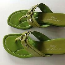 Ak Anne Klein Iflex Patent Wedge Size 7 Shoe Lime Green Leather Sandal  Photo