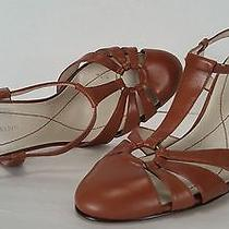 Ak Anne Klein Magelati Leather T-Strap Sandals Heels Size 10 M Photo