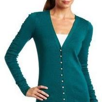 Ak Anne Klein Ruched Sleeve Button Down Cardigan Teal Aqua Blue Size 1x Photo