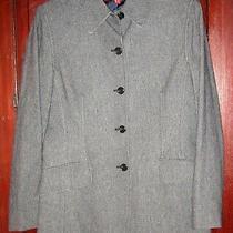 Ak Anne Klein Size 10 M Jacket Blazer Coat Long Tweed Black Gray Pockets Photo