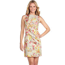 Ak Anne Klein Sleeveless Floral Print Stretch Dress 4 Coral Blush New Photo