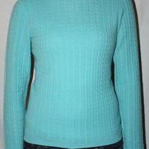 Ak Anne Klein Sport Cashmere Sweater Jumper Aqua Blue Cable Knit Ladies Medium M Photo