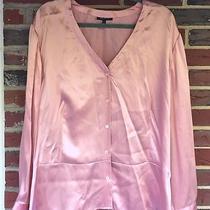 Ak Anne Klein Woman 22w 100% Silk Blouse Nwt Button Front Flip Cuff Feminine Photo