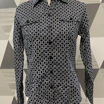 Ak Anne Klein Women's Size 6 Black Button Front Long Shirt Top 13c39 Photo