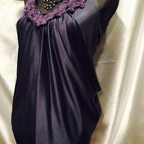 Akiko Graphite Front Back Drape Tunic Top W Plum Neck Applique Circles S Photo
