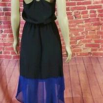 Akiko Halter Neck Hi- Low Dress Blue Black Leather Straps Size S Nwot  Photo