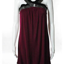 Akiko Wine Gray Black Leather Strap Dress Sz Xs Photo