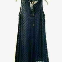 Akiko Womens Coverup Sz Medium Swimsuit Sheer Navy Tassel Tie Pintuck Front Euc Photo