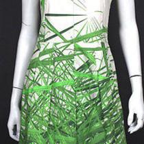 Akris 2690 Spring 2013 Reed Print Stretch Cotton Pleated Dress 6 Photo