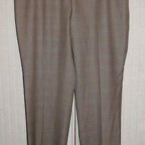 Akris 975 Brown White Wool Silk Smooth Crosshatch Slim Leg Dress Pants 10 Photo