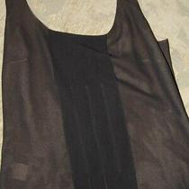 Akris Black Over Tan Silk Tank Top Pleated Pin Tuck Blouse Size 4/6  Lknu Italy  Photo