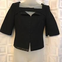 Akris Black Stretch Short Sleeve Blazer Jacket Hook & Eye Top Sz 4 Xs Photo