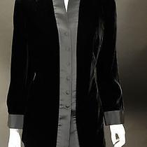 Akris Black Velvet Jacket W/flat Black Silk Trim Sz 14 Photo