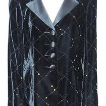 Akris Black Velvet Jacket W Sequins / Black Satin Pants Med B- 39 Photo