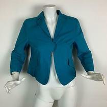 Akris Blazer Jacket Blue Cotton 3/4 Sleeves Career Women Size 10 Photo