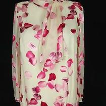 Akris Blouse 46 48 Us 16 Xl Cream Silk Chiffon Pink Rose Petals Scarf Belt Photo