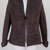 Akris Brown Silk Pleated Taffeta Blazer/jacket Size F 40 Photo