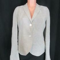 Akris Gray/white Stripe Linen Textured Collared  2 Button Blazer Jacket Sz 10 Photo
