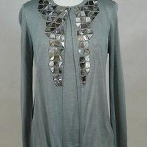 Akris Green Silk Cardigan Twinset Sweater With Mother of Pearl Applique 44 Photo