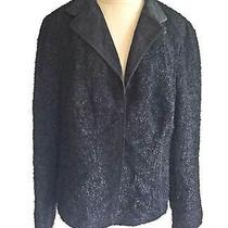 Akris Jacket Dead Stock Boucle Black Wool Boxy Boucle Blazer Contrast Lapel 16 Photo