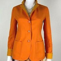 Akris New 6 Us 42 It M Reversible Orange Yellow Cotton Blazer Jacket Coat Runway Photo