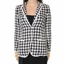 Akris New Black White Womens Size 2 Houndstooth Contrast-Trim Jacket 3990 019 Photo