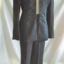 Akris Nos Stripe Tone on Tone Zip Long Sexy Jacket Blazer Pant Suit Silk 10 Photo