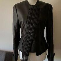 Akris Nwot Women's Jacket Lamb Nappa Leather Asymmetrical Zip Black Brown Size 6 Photo