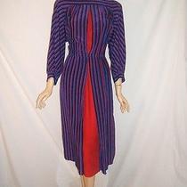 Akris of Switzerland Womens 40 10 12 Stunning Rare Blue Red Silk Vintage Dress Photo