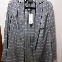 Akris Open Front Grey Plaid Blazer Size 14 New With Tags Photo