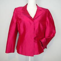 Akris Pink Silk Satin Buttons Blazer Jacket Us 12 Top R7 Photo