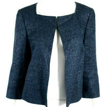 Akris Prussian Blue Woven Linen Blend Open Front Tweed Jacket 12 Photo